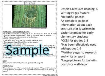 Desert Animals Reading & Writing Pages ELA CCSS! 25 creatures Science & Literacy