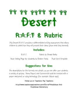 Desert Differentiated Writing RAFT Activity