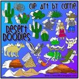 Desert Doodles digital clip art combo (BW & color PNG)