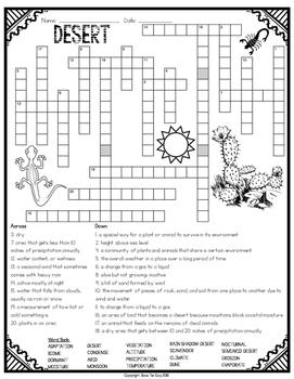 Desert Ecosystem Crossword