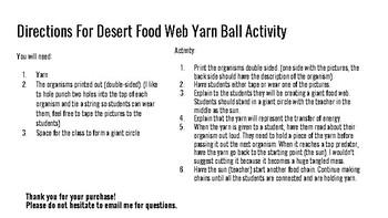 Desert Food Web Yarn Ball Activity