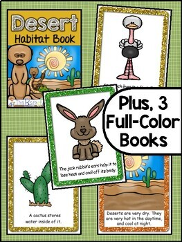 Desert Habitat Animals Emergent Readers (3 Levels) + Matching Full Color  Books