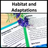 Close Reading Habitat and Adaptations 3rd Grade NGSS 3-LS4-3 and 3-LS4-4
