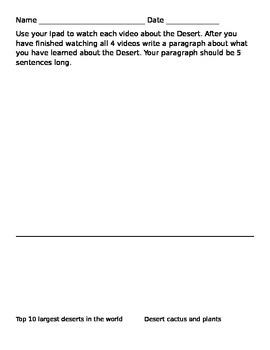 Desert QR codes Videos/Writing Activity