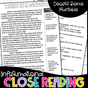 Informational Text Bundle - Deserts