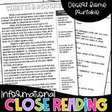 Close Reading Deserts Informational Text Test Prep