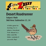 Desert Roadrunner Folder Game Subtraction 13 14