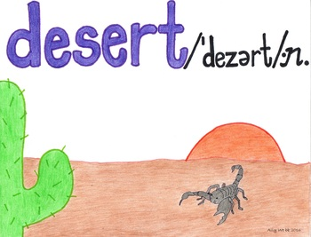 Desert Sand Cartoon--Printable Montessori Homograph Card