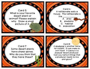 Desert Task Cards 32 Card Set for Third Grade