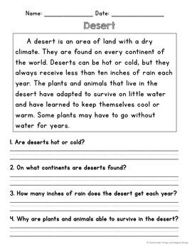 Desert Unit: Reading, Writing and Thinking About Animals