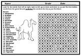 Desert Word Search Puzzle Worksheet, No Prep Sub Plan and