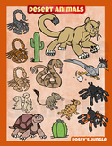 Desert animals clip art collection