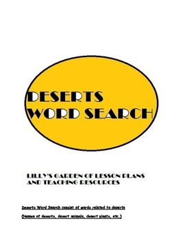Deserts Word Search