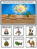 Desesrt Animals themed Positional Word Game. Printable Preschool Game