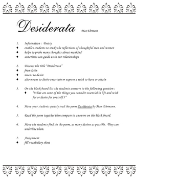 image about The Desiderata Poem Printable named Desiderata Poem ENGLISH Poetry by way of Max Ehrmann