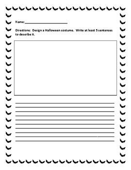 Design A Halloween Costume/Write Five sentences to Describe