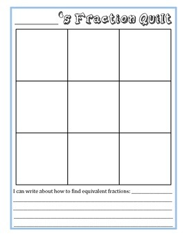 Design An Equivalent Fraction Quilt - A Common Core Craftivity