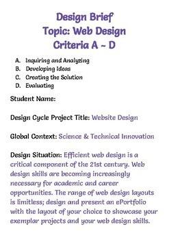 Design Cycle Template, Web Design Unit - Computer Tech MYP IB, EDITABLE