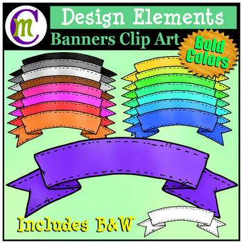 Design Elements Clipart | Bold Color Banners