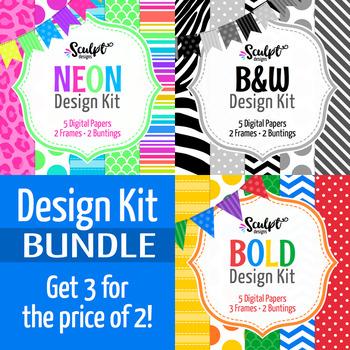 Design Kit Bundle ~ Digital Papers, Frames & Buntings