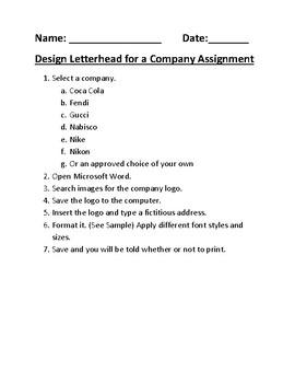 Design Letterhead for a Company Assignment