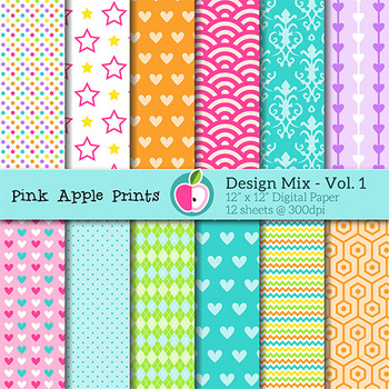 Design Mix 1 - Pattern Digital Papers Set - Graphics for Teachers
