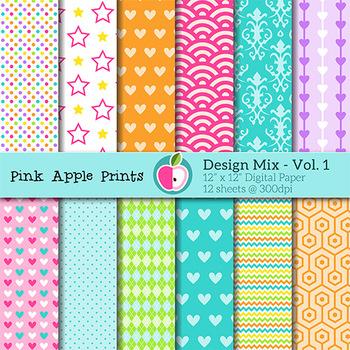 Design Mix 1 - Pattern Digital Papers Set - Graphics for Teachers