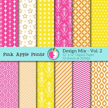 Design Mix - Vol 2 Pattern Digital Papers Set: Graphics for Teachers