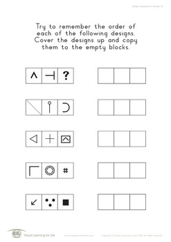 Design Sequences (3 Blocks) (Visual Sequential Memory Worksheets)