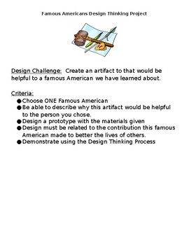 Design Thinking Project Famous Americans STEM Computer Science EDITABLE