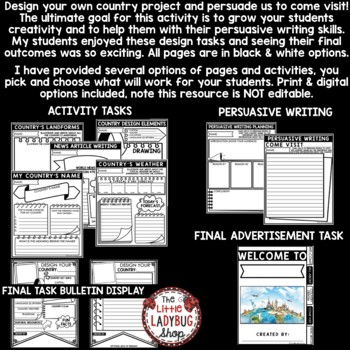 Design Your Own Country Creative Writing HOT Extension • Teach- Go Pennants™