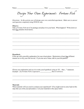 Design Your Own Experiment:  Fortune Fish {A Lab For Grades 6-9}