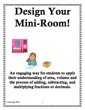 Design Your Own Room Project - Applying Area, Volume, and Decimals or Fractions