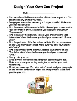 Design Your Own Zoo Area and Perimeter Project