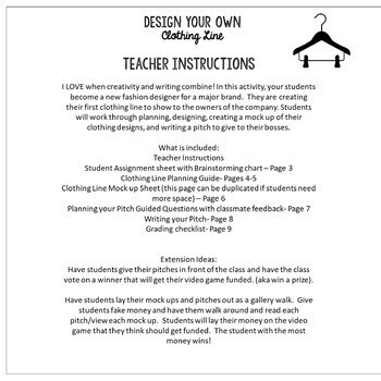Design Your own Clothing Line Writing Activity
