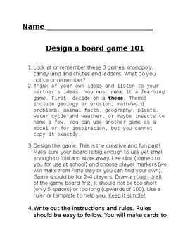 Design A Board Game By Stacy Mikkelson Teachers Pay Teachers - Board game design document