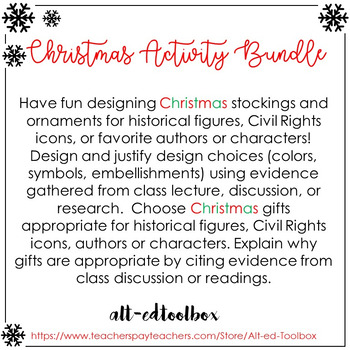 Christmas Activity Bundle (for any Historical Figure, Auth