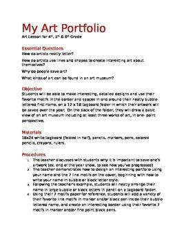 Design a Portfolio (Art Folder)- Lesson for Grades 4-6