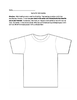 Design a Shirt Beginning of the year activity