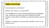 Design a Solo Card Game- Procedural Writing and FUN!