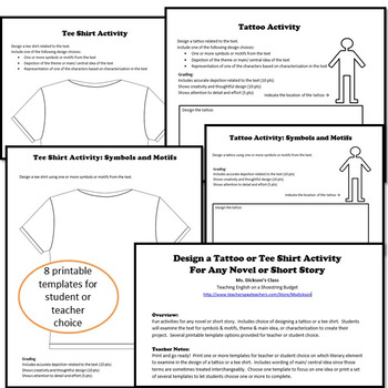 Design a Tattoo or Tee Shirt Activity, Works with any Novel or Short Story