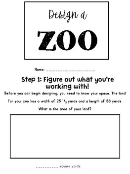 Design a Zoo: A Fractions Area Project