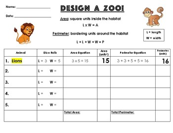 """Design a Zoo!"" Area & Perimeter Activity"