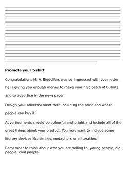 Design a t-shirt company: business maths and persuasive writing