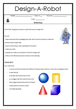Design and Technology - Design a Robot (Student Workbook)