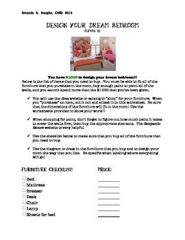 Design your Dream Bedroom, ver. 2 (money, perimeter, Common Core math activity)