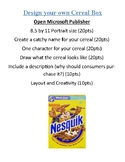 Design your own Cereal Box Assignment using Microsoft Publisher