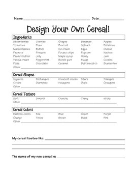 Design your own cereal - persuasive and descriptive writing