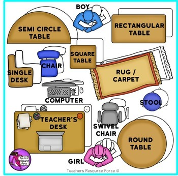 classroom table clipart. interactive classroom seating chart template: birdseye view furniture clip art table clipart