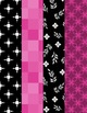 Designer Digital Papers - Beautiful 8 pack of Hot Pinks and Black